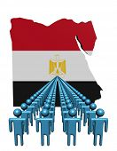 Lines of people with Egypt map flag illustration