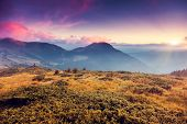 Fantastic morning mountain landscape. Overcast colorful sky. Carpathian, Ukraine, Europe. Beauty wor