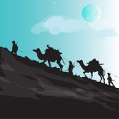 stock photo of ammo  - hand drawn silhouettes of group of terrorists on their secret path with camels and ammo - JPG