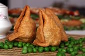 foto of bengal-gram  - Samosa  is an Indain fried or baked pastry with a savory filling - JPG