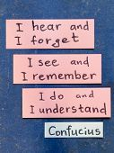stock photo of interpreter  - famous Confucius quote interpretation with sticker notes on vintage carton board - JPG