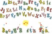 3D alphabet with uppercase and lowercase letters and composition with funny children isolated on whi