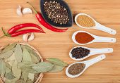 Colorful herbs and spices selection. Aromatic ingredients on cutting board