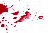 Murder. Red blood on white background