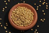 stock photo of fenugreek  - Fenugreek seeds or Fenugreek is Kasuri Methiis frequently used in the preparation of pickles - JPG