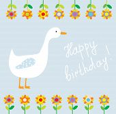 stock photo of baby goose  - Birthday funny card for child with flowers and goose - JPG