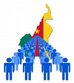 Lines of people with Cameroon map flag vector illustration