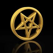 image of antichrist  - Pentagram gold symbol on a black background with reflection - JPG