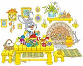 pic of cony  - Little rabbit coloring Easter eggs to the holiday - JPG