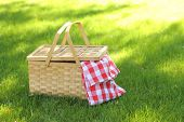 stock photo of eat grass  - Picnic basket in grass - JPG