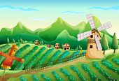 stock photo of scarecrow  - Illustration of a farm with wooden houses and a scarecrow - JPG