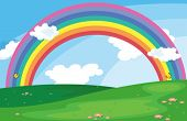 pic of landforms  - Illustration of a green landscape with a rainbow in the sky - JPG