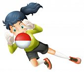 Illustration of a girl using the ball with the Chile Flag on a white background
