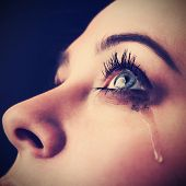 stock photo of tears  - beauty girl cry - JPG