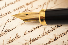 image of cursive  - Fountain pen on an antique handwritten letter - JPG