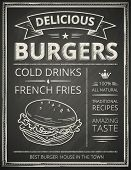 image of beef-burger  - Burger poster stylized like sketch drawing on the chalkboard - JPG