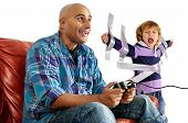 foto of daddy  - Young boy glued to the wall with duct tape so daddy can play video games - JPG