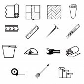 picture of linoleum  - Set of black contour vector icons for working with linoleum on white background - JPG