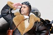 pic of bomber jacket  - WWII figther pilot looking to the sky - JPG
