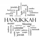 stock photo of dreidel  - Hanukkah Word Cloud Concept in black and white with great terms such as dreidel jewish holy and more - JPG