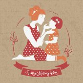 stock photo of babysitting  - Card of Happy Mother - JPG
