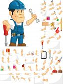 picture of designated driver  - A vector set of a male technician or repairman in several poses - JPG