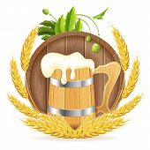 picture of hop-plant  - Oktoberfest Poster with Barrel of Beer Wooden Mug Barley and Hops vector isolated on white background - JPG