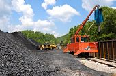 image of nonrenewable  - Large End Loaders loading a Stock Pile of Coal into Rail Cars and taking Samples - JPG