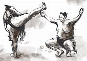 pic of wrestling  - An hand drawn  - JPG