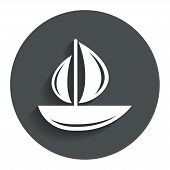 image of sailing-ship  - Sail boat icon - JPG