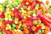 stock photo of frozen food  - Closeup of a Frozen Mixed Vegetables - JPG