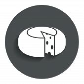 Постер, плакат: Cheese wheel sign icon Sliced cheese