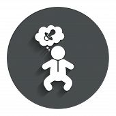 picture of nipple  - Baby infant think about pacifier nipple sign icon - JPG