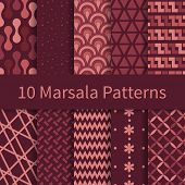 stock photo of marsala  - 10 Geometric Fashion different vector seamless patterns with trendy Marsala colors - JPG