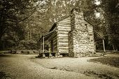 foto of gatlinburg  - Settlers cabin on display in Americas Great Smoky Mountain National Park - JPG
