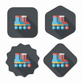 image of roller-derby  - Roller Skates Flat Icon With Long Shadow - JPG