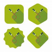 foto of skipping rope  - Skipping Rope Flat Icon With Long Shadow - JPG