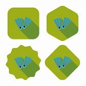 pic of flipper  - Flippers For Diving Flat Icon With Long Shadow - JPG