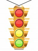 stock photo of traffic light  - traffic light with four - JPG
