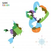 image of sark  - Abstract vector color map of Sark with transparent paint effect - JPG