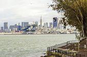 stock photo of alcatraz  - The San Francisco skyline in California United states of America from Alcatraz island - JPG