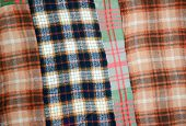 stock photo of transverse  - background multicolored old wool blanket stitched cell - JPG