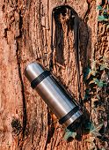 pic of thermos  - Thermos hanging on a tree - JPG
