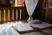 stock photo of mosquito  - mosquito net and mattress in thailand traditional bedroom - JPG