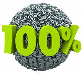 pic of 100 percent  - 100 percent number and symbol on a ball of percentage signs to illustrate a complete or total job or goal achieved or a perfect score or rating - JPG