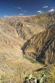 image of arid  - Picturesque view arid landscape around Canon del Colca famous tourist destination in Peru - JPG