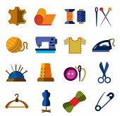 stock photo of sewing  - vector color sewing icons on white background - JPG