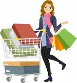 picture of pre-adolescent girl  - Illustration of a Teenage Girl on a Shopping Spree - JPG