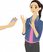 image of pre-adolescent girl  - Illustration of a Teenage Girl Refusing the Cigarettes Being Offered to Her - JPG