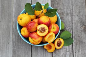 picture of food plant  - Fresh peaches in blue bowl on wooden table - JPG